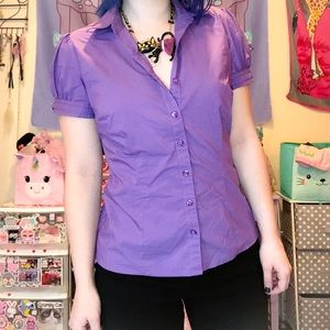 purple button up top